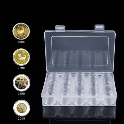 100pcs Coin Storage Case Protective Clear Coin Capsules for Antique Coin Medals