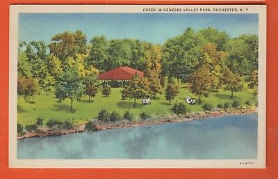 Rochester, NY/ creek in Genesee Valley Park/shelter/ people on benches/linen pc