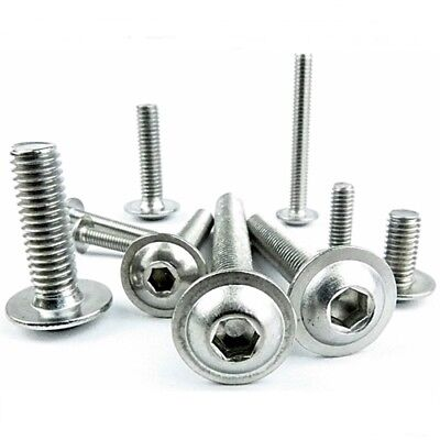 M6 FLANGED BUTTON HEAD SCREWS, DOME HEAD ALLEN SOCKET BOLTS A2 Stainless Steel