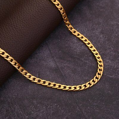Classic 18K Yellow Gold Filled mens hip hop cuban link Chain long Necklace 6mm