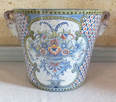 grand cache pot faience décor Rouen flower pot