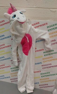 Nifty Kids White Unicorn Soft All In One Hooded Sleepsuit Costume ages 4-10
