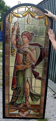 A stunning pair of Victorian classical Painted leaded stained glass windows