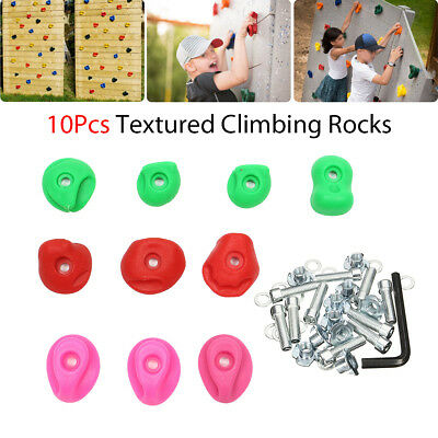 10X Assorted Textured Rock Climbing Tools Holds Grip Stones Mixed Color for Kids