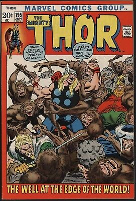 Thor #195 Vs Mangog! Jan 1972 Very Glossy Cents Copy + Ow/w Pages. Buscema Art
