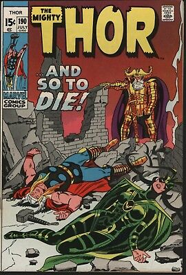 Thor #190 Vs Hela Goddess Of Death Glossy Cents Copy White Pages - Buscema Art