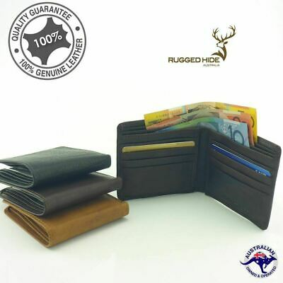 Men's Genuine Premium Cowhide RUGGED HIDE Leather Slim Wallet Black 8 Cards Ne