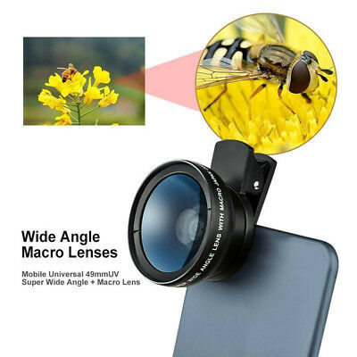 2in1 Wide Angle+Fish Eye+Macro Clip On Camera Lens Kit For Universal Smart Phone