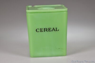 """ca. 1930s  JADE / JADITE GREEN by Jeannette -  Floral Canister Cereal - 5 7/8"""" h"""