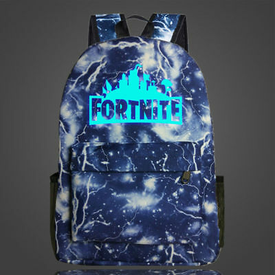 Fortnite Backpack school bag blue Glo in Dark Kids FREE KEYCHAIN