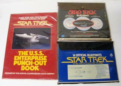 Lot Of 3 Star Trek Collectibles Blue Prints & Punch Out Book Motion Picture