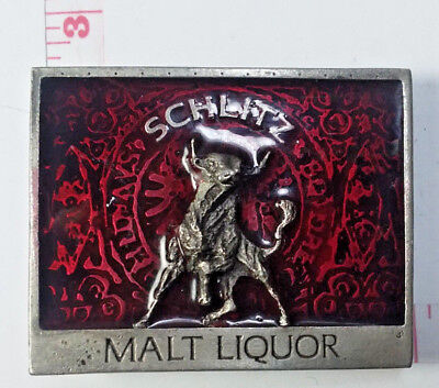 Rare Vintage Schlitz Malt Liquor Bull Wine Red Color Enamel Pewter Belt Buckle