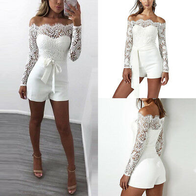 Womens Off Shoulder Bodycon Jumpsuits Long Sleeve Lace Flower Party Playsuit HC