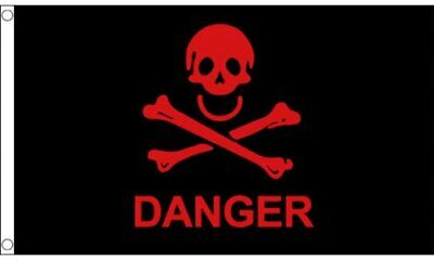 Danger Red and Black, Skull and Crossbones 5ft x 3ft (150cm x 90cm) Flag