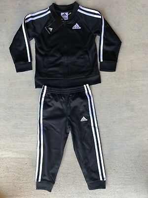 adidas Little Boys 3 Stripe Full Zip Jogger Track Suit set 4T 5