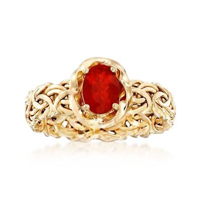 Natural Fire Opal Byzantine Band Ring Real 14K Yellow Gold Sizes 7 8 9