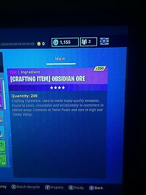 fortnite save the world crafting item obsidian ore x200 xbox - fortnite silver ore