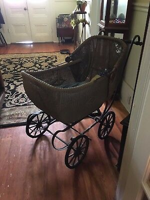 Vintage Baby Pram Stroller Wicker Photography Retail Home Decor Holidays
