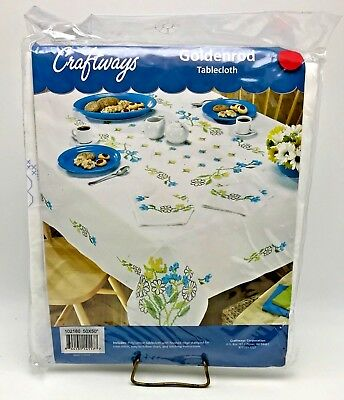 Craftways Stamped Cross Stitch Tablecloth Kit Goldenrod Flowers 50 x 50