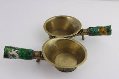Pair 19th Century Chinese Brass Cups With Enamel Decoration Handles 16cm Across