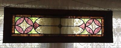 Vintage Stained Glass Leaded Window Salvage Unique Shape Color 38 wide X 12 high