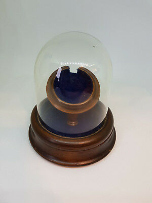 Antique Victorian Pocket Watch Stand Hinged Lid Glass Dome Mahogany