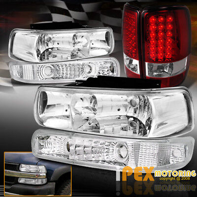 2000-2006 Chevy Suburban Tahoe Chrome Headlights+Signal Light+LED Red Tail Light