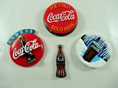 Lot of 4 Vintage Coca Cola Memo Holders Refrigerator Magnets (#6)