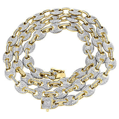 """Solid 10K Yellow Gold 8mm Puff Gucci Link Diamond Chain 24"""" Necklace 4.74 CT."""