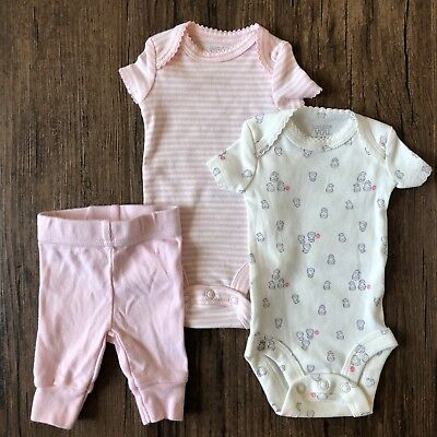 4db05f187 CARTERS JUST ONE You Preemie Outfit Girl 3 Piece Set Lot Pants Bodysuit Owl  - $10.99 | PicClick