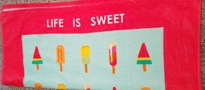 81 Madison Pale Color Ice Cream Stick Hello Life is Sweet Beach Towel Size 38x68