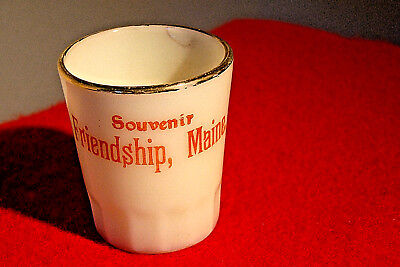 Vintage Custard Glass Shot / Toothpick Holder, Souvenir Friendship, Maine