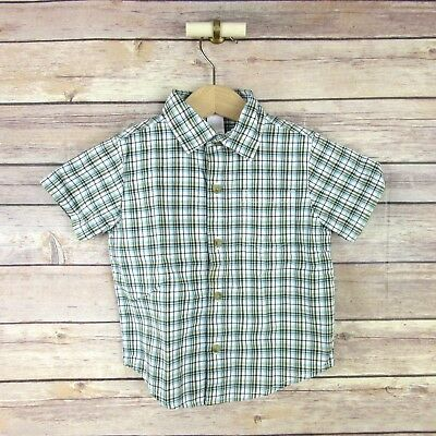 JANIE AND JACK Boys' Short Sleeve Button Front Shirt SIZE 6 -1 2 MOS. Blue Plaid