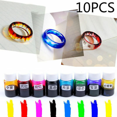 10 Bottle 10G Mix Color Epoxy UV Resin Coloring Dye Colorant Resin Pigment Craft