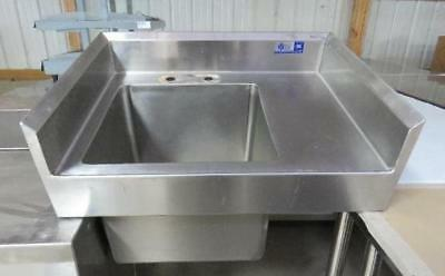 Stainless Steel Sink w/ Back Splash 24x18 single bowl side wall mount utility