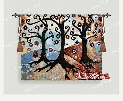 Abstract landscape tree No. 2 tapestry wall hanging belgium antique home textil