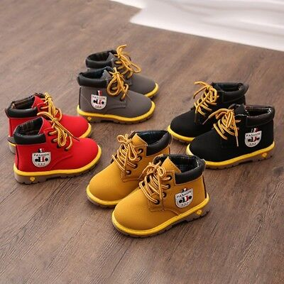 Toddler Baby Boy Girl Casual Leather Shoes Snow Boots Warm First Walkers Sneaker