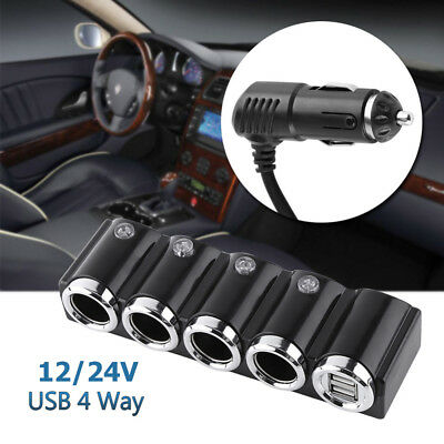 12V/24V 4-Way USB Car Cigarette Lighter Socket Splitter Charger Power Adapter