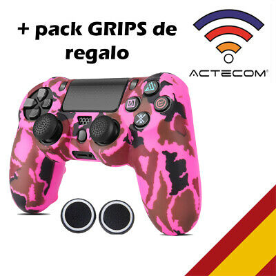 Actecom® Funda + Grip Silicona Camuflaje Rosa Mando Sony Ps4 Playstation 4