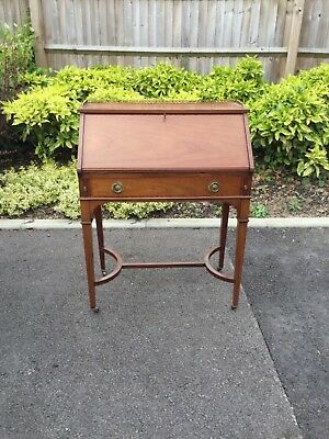Edwardian antique solid mahogany gilt brass inlaid fitted writing desk bureau