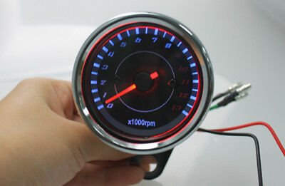 12V Universal Motorcycle Tachometer 13K RPM Shift With LED Backlight HighQuality