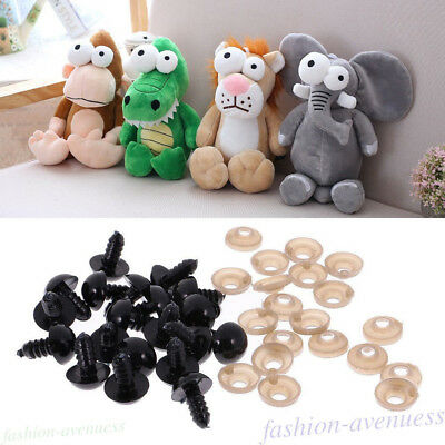 100Pcs Black Safety Eyes For Plastic Bear Doll Animal Cartoon Toys DIY 5-24mm