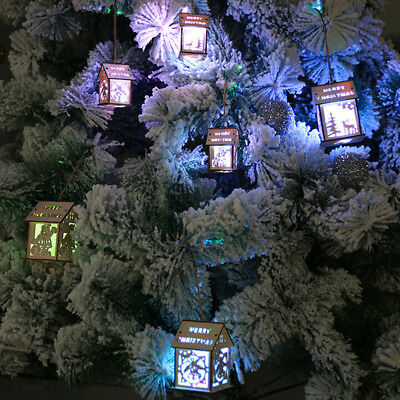 Led light wood house cute christmas tree hanging ornaments holiday decora PQ