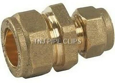 Brass REDUCING Straight Coupler - Compression Fitting - 8,10,12 15,22,28, 35mm