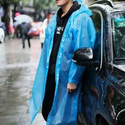 Disposable Adult Emergency Waterproof Rain Coat Poncho Hiking Camping Hood