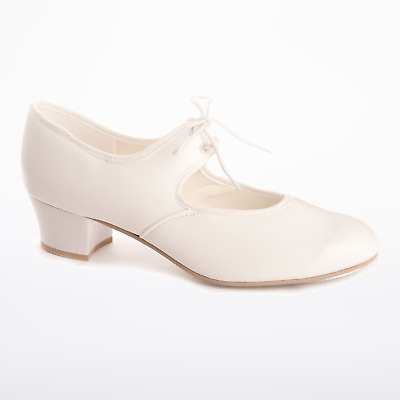 White PU or leather cuban heel tap shoes - all sizes