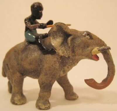 Unusual Antique Metal Toy Figure Elephant w Black Boy Mahout Heyde Germany 1920