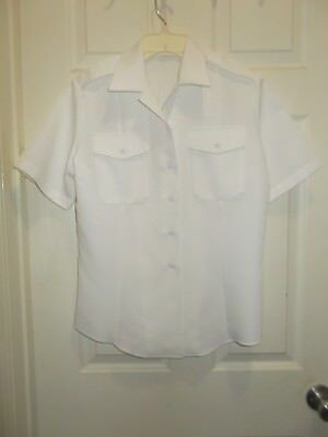 US NAVY OFFICER WHITE WORKING SHIRT SHORT SLEEVE w/Shoulder Straps --