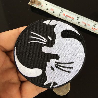 "Yin Yang CATS 3-1//2/"" Embroidery Iron-on Custom Patch E17"