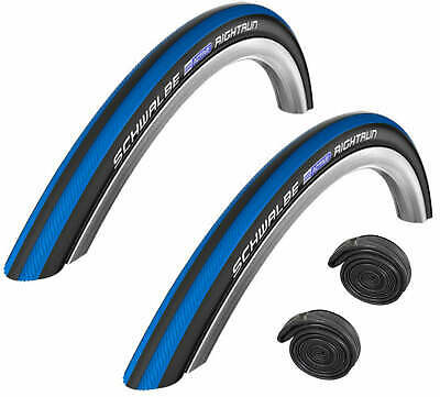 "Schwalbe RIGHTRUN 24"" x 1 Blue Stripes Puncture Protected Wheelchair Tyre"